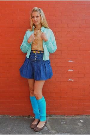 aquamarine nesteggvintage jacket - camel nesteggvintage shirt - blue nesteggvint