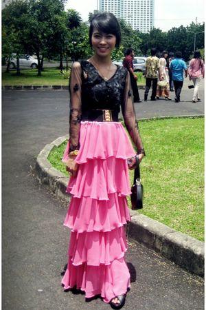 DIY blouse - DIY skirt - yellow line belt - Shopie Paris bag - Anam Caritas acce