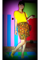 yellowline t-shirt - gede bage skirt - Mandys shoes - hobachQi accessories