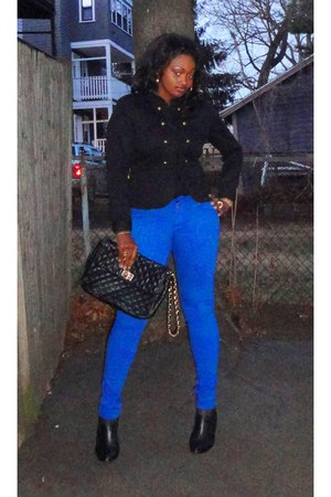 blue Bebe pants - black H&M jacket - black Aldo bag - black Colin Stuart heels