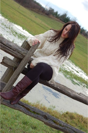 white NBR sweater - gray Aldo boots - black leggings