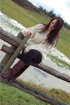 white NBR sweater - gray Aldo boots - black leggings