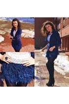 Bershka skirt - Bershka boots - blue Mohito blazer - reserved ring
