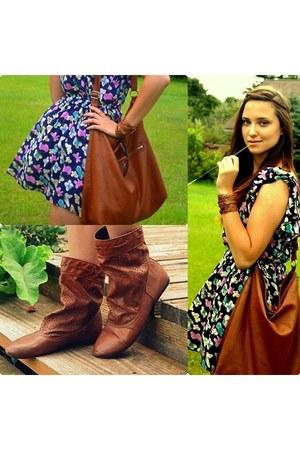 H&M boots - new look dress - H&M bag