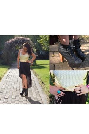 netted vest Bershka vest - lita leather Jeffrey Campbell heels
