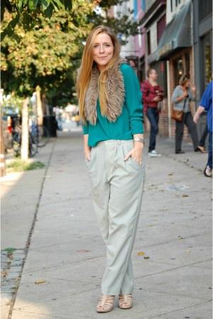 silk blouse - high waisted pants - fur collar accessories