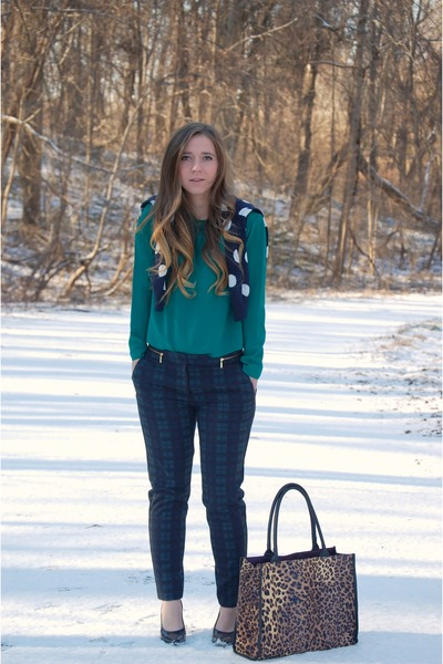 turquoise blue plaid H&M pants - navy polka dots Old Navy cardigan