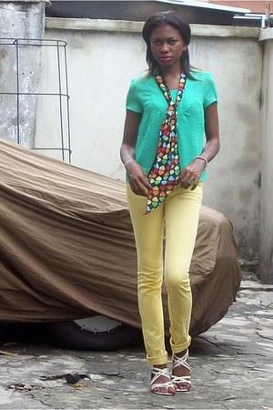 sea green Iolet top - yellow Element Denim pants