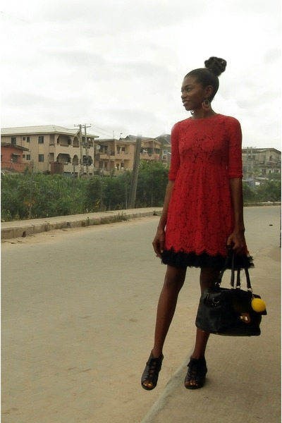 lace Red Memory dress - Topshop shoes