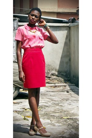 coral Local shop shirt - nude Steve Madden shoes - red Oribar Sat skirt