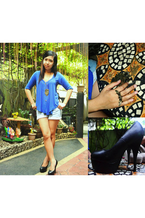 black SO Fab pumps - denim random shorts - blue Audreys Closet blouse
