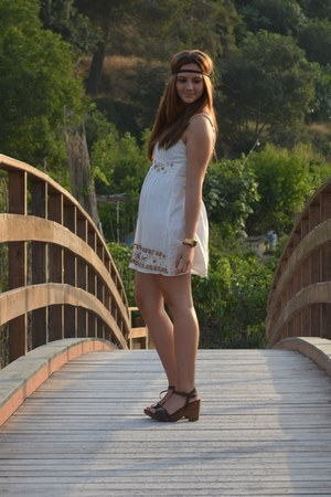 cream dress - brown sandals