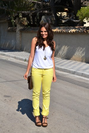 yellow BLANCO jeans - dark brown BLANCO bag - dark brown pull&bear sandals - whi