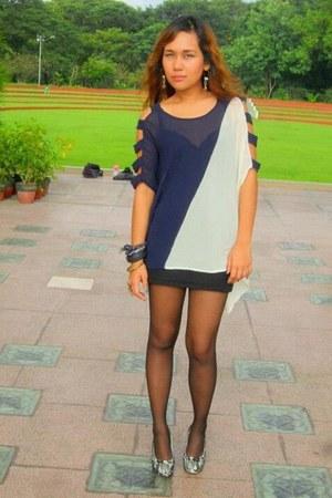 blouse - bodysuit - stockings - bracelet - skirt - wedges