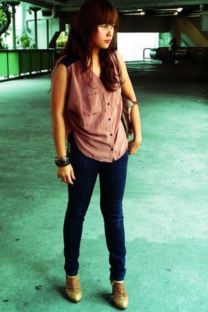 Bottega shoes - Oxygen jeans - longchamp bag - blouse