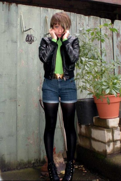 H&M jacket - Thrift Store top - Thrift Store belt - Uniqlo shorts - HUE tights -
