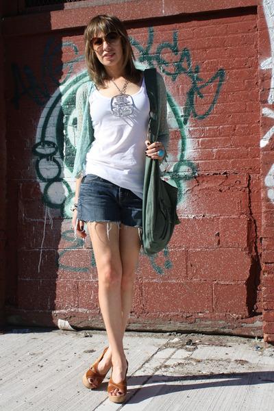 blue BCBG cardigan - white H&M t-shirt - blue Gap shorts - brown Target shoes -