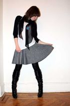 black cardigan - white Uniqlo t-shirt - gray H&M skirt - black HUE tights - blac