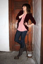 red vintage from thrift store blazer - pink Forever 21 blouse - blue Uniqlo jean