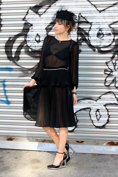black Dusty Rose Vintage dress - black Jessica Simpson shoes