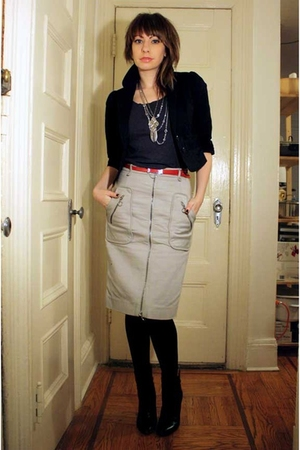 black H&amp;M blazer - gray H&amp;M t-shirt - gray Mischen skirt - black HUE tights - bl