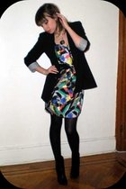 black Zara blazer - gray BCBGgeneration dress - black HUE tights - black Nine We