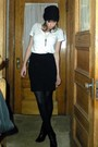 White-uniqlo-t-shirt-black-express-skirt-hue-tights-black-nine-west-boots-