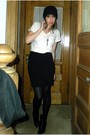 White-uniqlo-t-shirt-black-express-skirt-hue-tights-black-nine-west-boots-