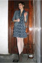 gray Urban Outfitters blazer - blue I heart ronson dress - white unknown tights
