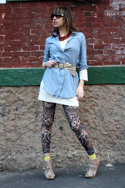 blue Forever 21 blouse - white Urban Outfitters dress - blue Jean Paul Gaultier