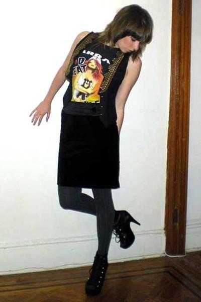 black aryn k vest - black vintage t-shirt - black Behnaz Sarafpour for Target sk