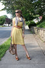 Yellow-thrift-store-dress-brown-target-shoes-beige-makowsky-purse-beige-th