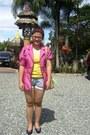 Violet-nine-west-shoes-shiny-pink-love-culture-blazer-yellow-topshop-shirt-