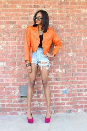 LoveCharlieJ jacket - DIY shorts - H&amp;M top