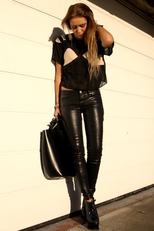 asos top - All Saints jeans - Zara bag
