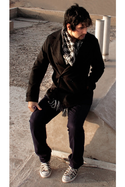 Robert Lewis coat - coated jeans barbados jeans - handmade scarf