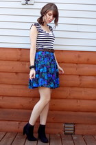 deep purple floral DIY skirt - black ankle H&M boots
