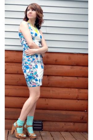 white pastel floral H&M dress - aquamarine sheer lace Forever 21 socks