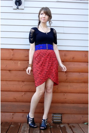 burnt orange Forever 21 skirt - blue braided suede Forever 21 belt