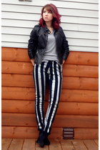 silver DIY jeans - black faux leather Target jacket