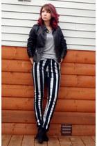 silver DIY jeans - black faux leather Target jacket