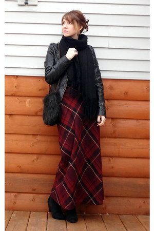 brick red plaid maxi vintage skirt - black faux leather Target jacket