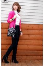 hot pink Old Navy cardigan - white polka dot H&M blouse - black BDG pants