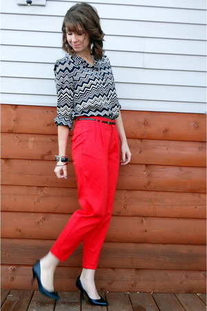 carrot orange Forever 21 pants - white missoni for target blouse