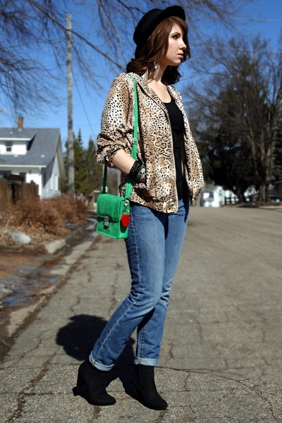 tan thrifted jacket - chartreuse H&M bag - black wilfred t-shirt