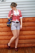 heather gray high waisted H&M shorts - white bow tie blouse - coral Old Navy car