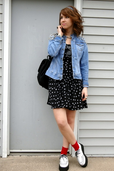 sky blue DIY jacket - white creepers TUK shoes