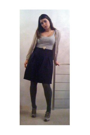 silver H&amp;M top - beige H&amp;M sweater - blue benetton skirt - gray Calzedonia tight