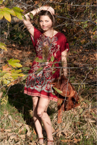 red Lauren U dress - brown blazer - gold necklace - brown aerosoles shoes