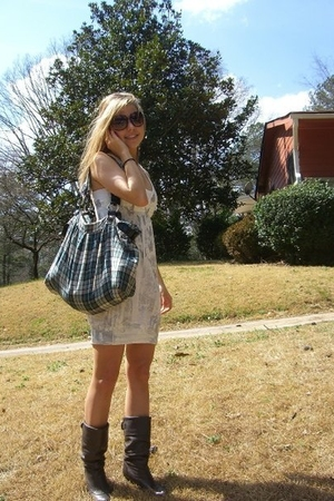 brown purse - blue purse - white dress - brown sunglasses - white intimate